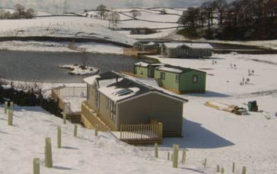 Static caravans in the snow