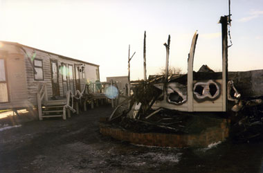 Static caravan fire remains