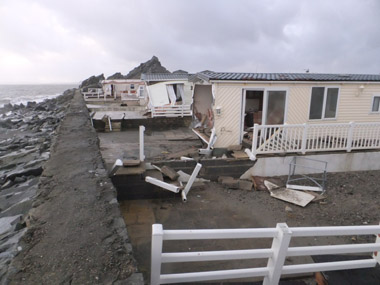 Static caravans completely destroyed by the surge