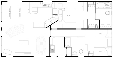 Floor Plan Victory Versailles-20-x-40-(2-Bed)