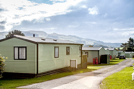 Static caravan on holiday parkl