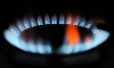 gas flame with orange - in static caravan