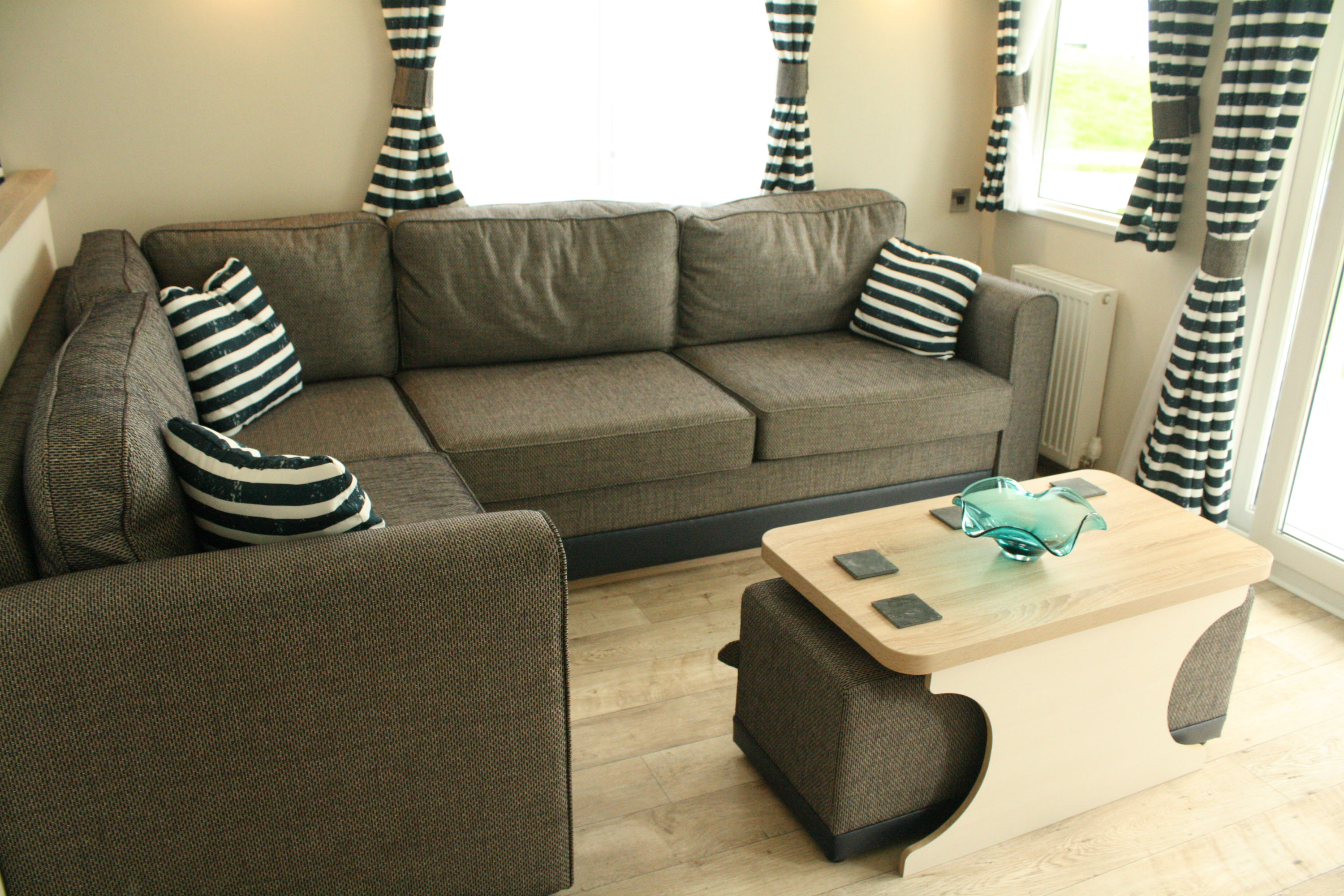 Striped seating and curtains
