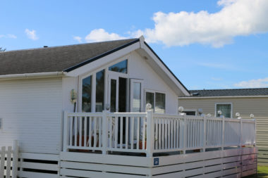 Patio doors open on static caravan to keep cool