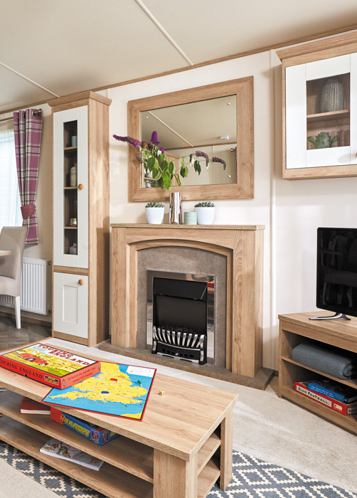 ABI St David static caravan Lounge and Fireplace