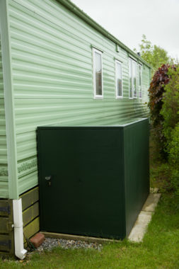 Static caravan outdoor storage box