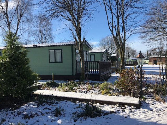 static caravan park in winter