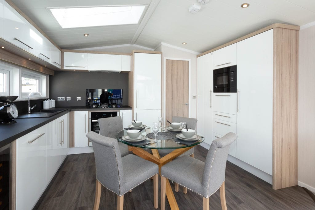 2020 Swift Champagne holiday lodge open plan kitchen